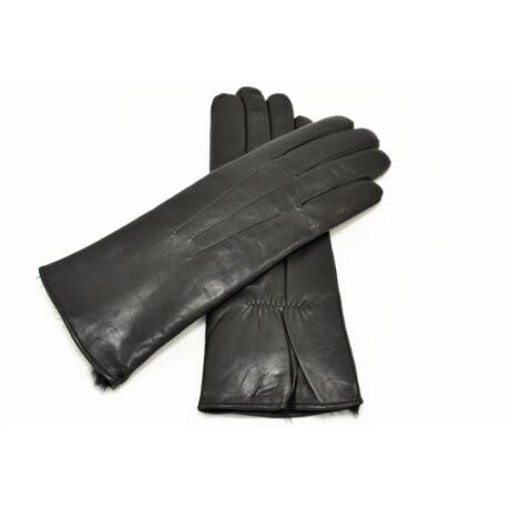 Women's hairsheep leather gloves lined with rabbit fur BLACK