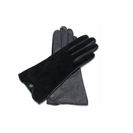 Women's silk lined leather gloves BLACK(V)