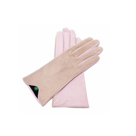 Női bőrkesztyű selyem béléssel PINK