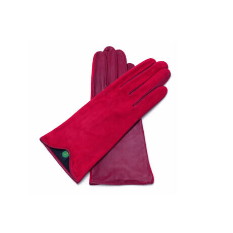 Women's silk lined leather gloves RED(V)
